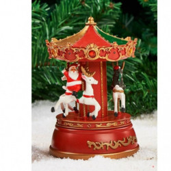 Manege musical carrousel a pile - 13x18,5x13 cm - Rouge