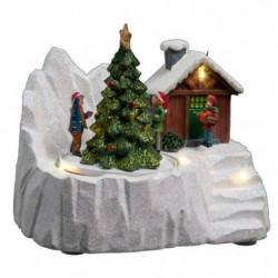 Village de Noël Chalet et Son Sapin lumineux et Animé