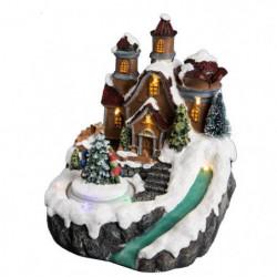 Village de Noël Maison dans Les Sapins lumineux et Animé