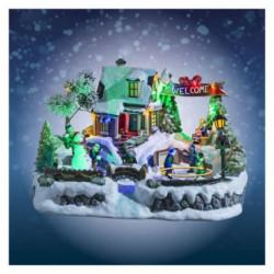 Village de Noël Lumineux et Animés Patinoire