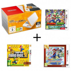 New 2DS XL Blanche Orange + Mario & Luigi : Superstar Saga + …