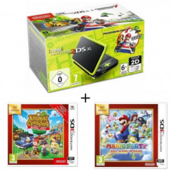 New 2DS XL Noir/Citron Vert + animal crossing + mario party