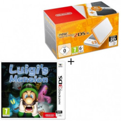 Console New Nintendo 2DS XL Blanche et Orange + Luigi's Mansion