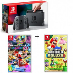 Pack Nintendo Switch Grise + New Super Mario Bros U Deluxe