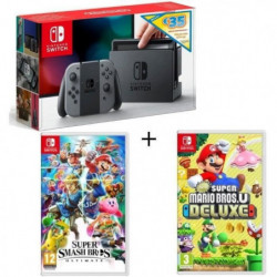 Pack Nintendo Switch Grise Ed.Limitée + New Sup.Mario Bros U