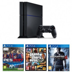 PS4 500 Go Noire + 3 Jeux : GTA V + Uncharted 4