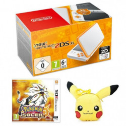 New Nintendo 2DS XL Blanche et Orange + Pokémon Soleil Jeu 3DS