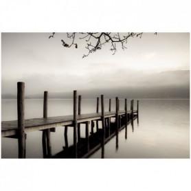 Image encadrée baguette minimaliste Quai sépia