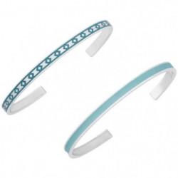 LUYIA Lot de 2 Bracelets Bleu Menthe/Bleu Femme