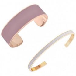 LUYIA Lot de 2 Bracelets Blanc/Rose Femme