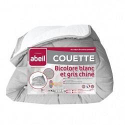 ABEIL Couette tempérée BICOLORE 140x200cm - Blanc & Gris chiné