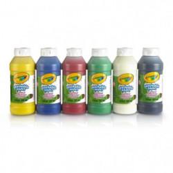 Crayola - 6 Bouteilles de peinture lavable  - Peinture et
