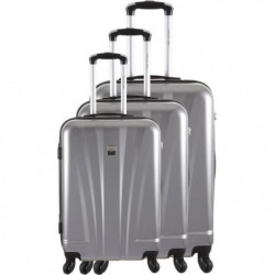 FRANCE BAG - Set de 3 valises ABS/POLYCARBONATE 8 roues Argent