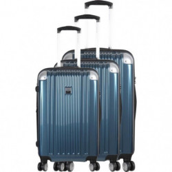 FRANCE BAG - Set de 3 valises  ABS/POLYCARBONATE Bleu Métal