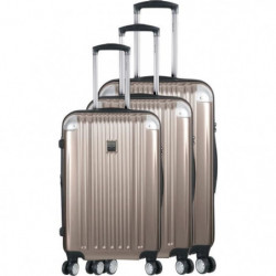 FRANCE BAG - Set de 3 valises ABS/POLYCARBONATE 8 roues Champagne