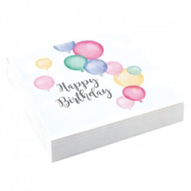 AMSCAN Lot de 20 Serviettes Happy Birthday Pastel 33 x 33 cm