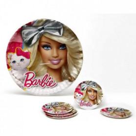 ATOSA Pack de 5 assiettes en carton - Collection Barbie - Fille