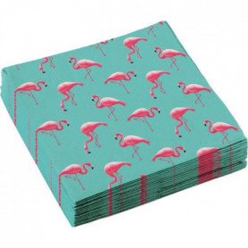 AMSCAN Lot de 20 Serviettes Flamant rose 33 x 33 cm
