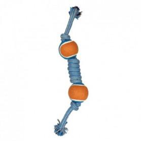 Corde avec 2 balles de tennis - 13x2x2 cm - Bleu et gris