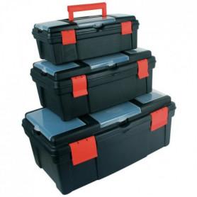 MANNESMANN Lot de 3 caisses a outils - Noir et rouge