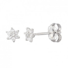OR ECLAT Boucles d'Oreilles Puces Or Blanc 375°