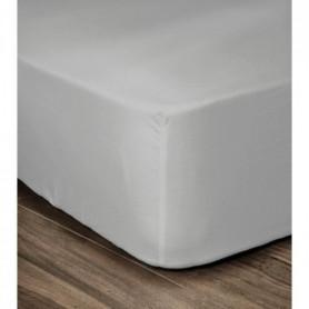 LOVELY HOME Drap Housse 100% coton 90x190x30 cm gris clair