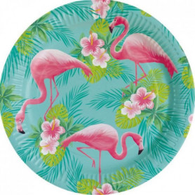 AMSCAN Lot de 8 Assiettes Flamant rose 23 cm