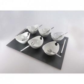 LEBRUN - Plateau 30x30 métal 9 pieces coupelles Jonque blanches