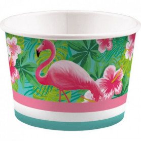 AMSCAN Lot de 8 Coupelles a glace Flamant rose 270 ml