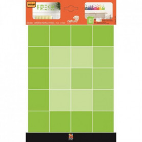 PLAGE Stickers adhésif mural Taille S - Green pixel/2 planches