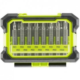 RYOBI Coffret antichocs 15 accessoires de vissage PH / PZ / TX