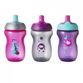 TOMMEE TIPPEE Tasse Sporty pour enfant - rose - 12 mois + - Lot de 3
