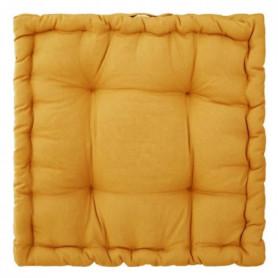 Coussin de sol en coton - 40 x 40 x 8 cm - Ocre