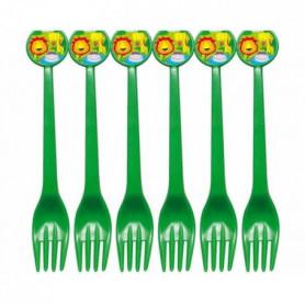 ATOSA Lot de 6 fourchettes en plastique - Imprimé jungle