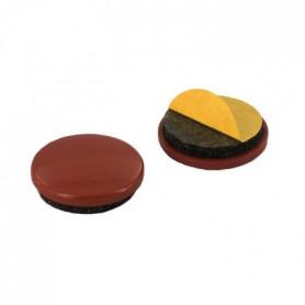 Lot de 10 Patins adhésifs - Ø 17 mm - Plastique - Marron