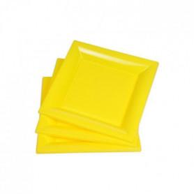 Lot de 6 assiettes carrées jetables 16,5x16,5 cm jaune
