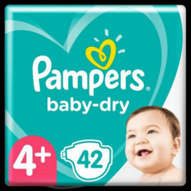 Pampers Baby-Dry Taille4+, 42Couches