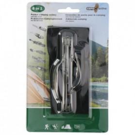 Ustensiles de poche pour le camping 6 en 1 - en inox