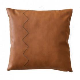 DEKO & CO Coussin aspect cuir - 45 x 45 cm - Camel