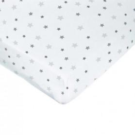 DOMIVA Drap housse imprimé - 60 x 120 cm - Blanc imp étoiles