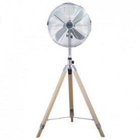 OCEANIC Ventilateur Trépied 50 W - Diametre 40 cm - inox et bois
