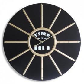 MUNDUS Horloge Helios en bois MDF - Ø 60 cm - Noir