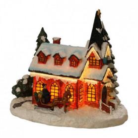 Figurine de Noël : Eglise fibre optique - 23,5x16,5x21 cm