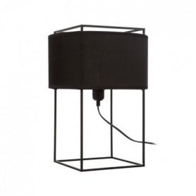 Lampe a poser contemporaine en métal noir + abat-jour