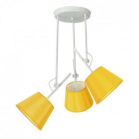 ARTICULER Lustre acier 50x50x80 cm Blanc et jaune