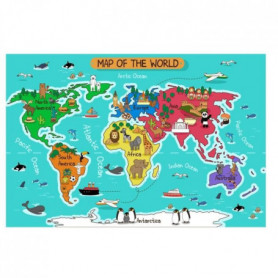 WALL IMPACT Stickers Carte du monde - 115x66x1 cm