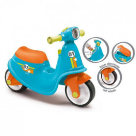SMOBY Porteur Scooter Bleu + Roues Silencieuses