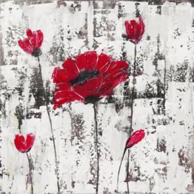 Toile peinte Fleur - Coton - 70x70 cm