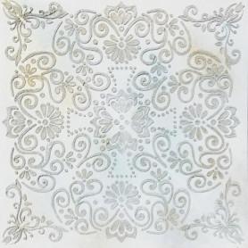 Toile peinte relief Fleur - Coton - 60x60 cm