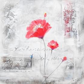 FLEUR Toile peinte Deux fleurs roses - Coton - 70x70cm